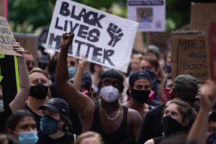 "<span class=""element-image__caption"">A protest in support of Black Lives Matter in New York in June. Trump seized on the protest by attempting to stoke 'culture war' divisions.</span> <span class=""element-image__credit"">Photograph: Bryan R Smith/AFP/Getty Images</span>"