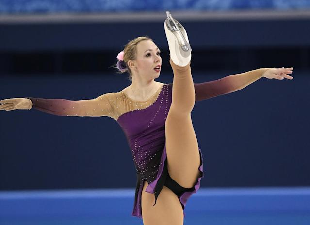 Kerstin Frank of Austria competes in the women's short program figure skating competition at the Iceberg Skating Palace during the 2014 Winter Olympics, Wednesday, Feb. 19, 2014, in Sochi, Russia. (AP Photo/Bernat Armangue)
