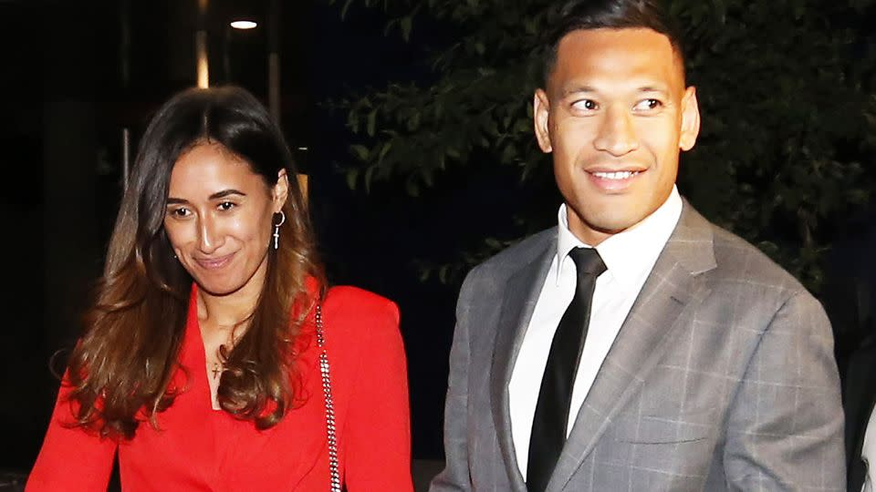Israel Folau is seen here with wife Maria outside Federal Court in 2019.