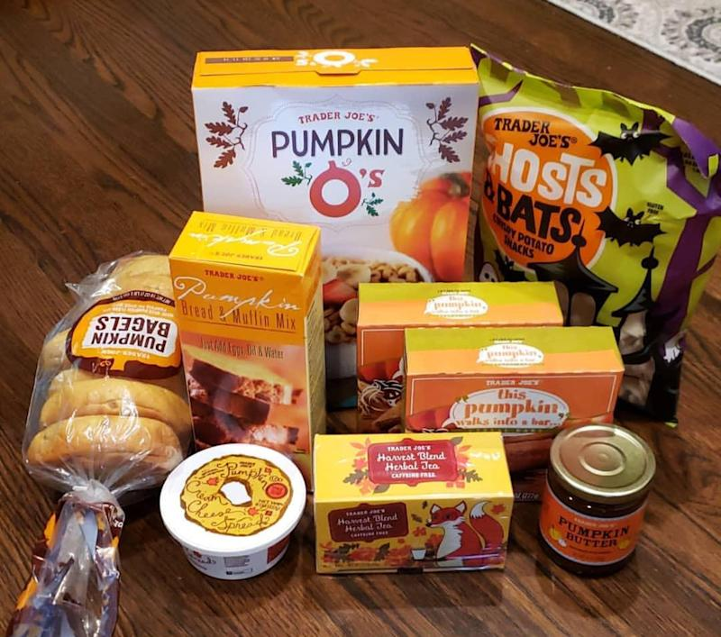 Collection of Trader Joe's Pumpkin products on wood floor