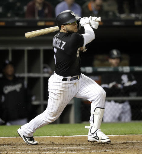 Chicago White Sox's Yolmer Sanchez watches his RBI single off Baltimore Orioles relief pitcher Richard Bleier during the eighth inning of a baseball game Tuesday, May 22, 2018, in Chicago. (AP Photo/Charles Rex Arbogast)
