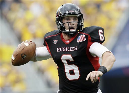 Northern Illinois quarterback Jordan Lynch (6) looks to a pass during the first half of an NCAA college football game against Iowa at Soldier Field in Chicago, Saturday, Sept. 1, 2012. (AP Photo/Nam Y. Huh)