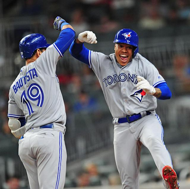 <p>… and Marcus Stroman's career-year, which included a legendary opposite field home run against the Braves. (Photo by Scott Cunningham/Getty Images) </p>