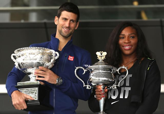 "<a class=""link rapid-noclick-resp"" href=""/olympics/rio-2016/a/1156004/"" data-ylk=""slk:Novak Djokovic"">Novak Djokovic</a> added of <a class=""link rapid-noclick-resp"" href=""/olympics/rio-2016/a/1132744/"" data-ylk=""slk:Serena Williams"">Serena Williams</a> on Sunday, ""She knows I love her. She really inspires everyone."" (AP)"