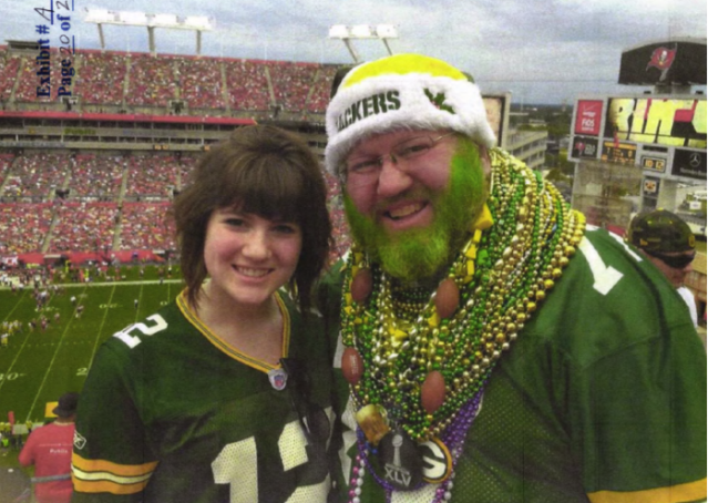 Russell Beckman is suing the Bears over his right to wear Packers gear. (Lawsuit exhibit)