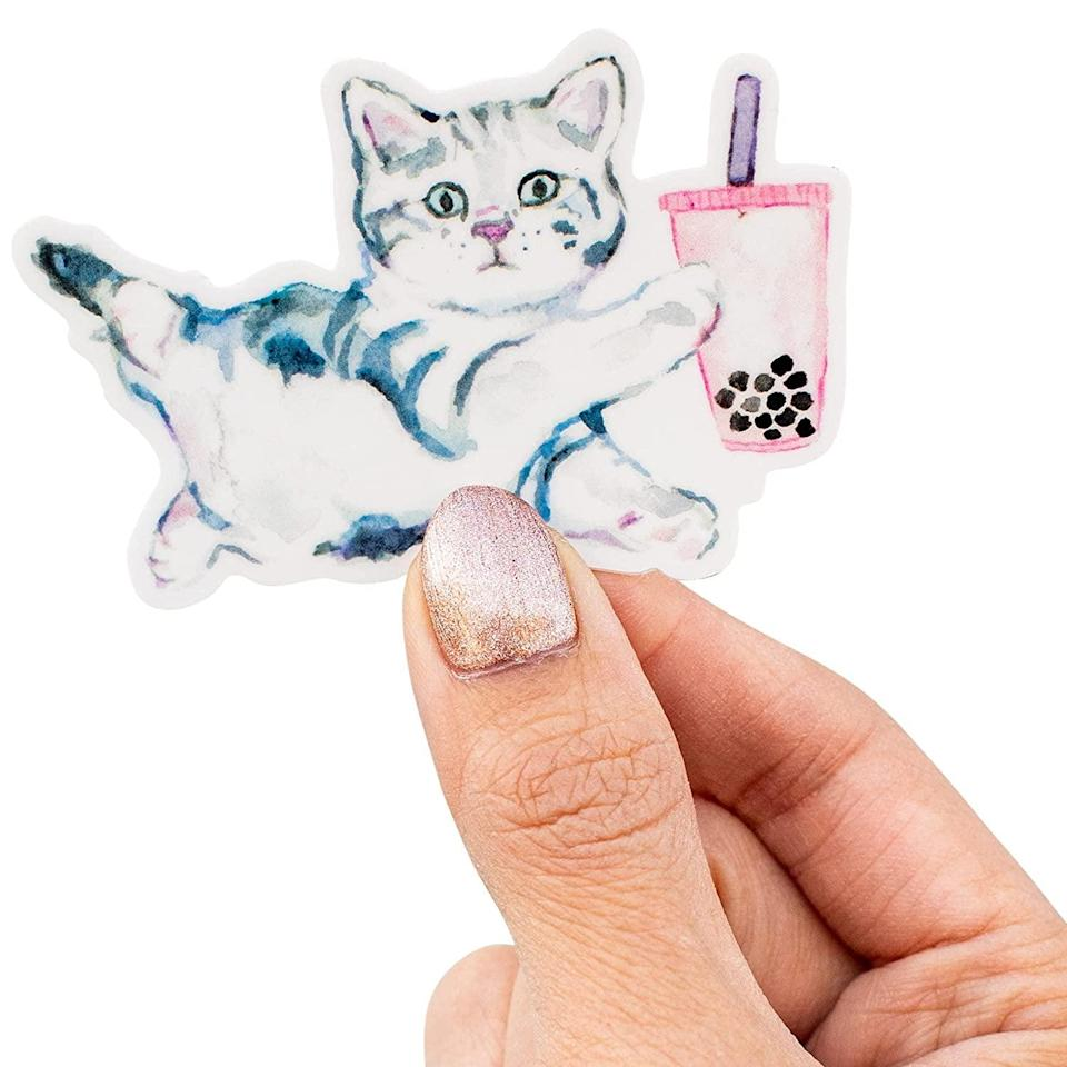 <p>This <span>Kathyphantastic Boba Bubble Tea Sticker</span> ($4) makes us smile. It combines two of our favorite things, cats and bubble tea!</p>