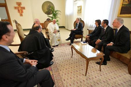 Microsoft President and Chief Legal Officer Brad Smith meets with Pope Francis at Saint Martha's House at the Vatican, February 13, 2019. Vatican Media/Handout via REUTERS    ATTENTION EDITORS - THIS IMAGE WAS PROVIDED BY A THIRD PARTY.