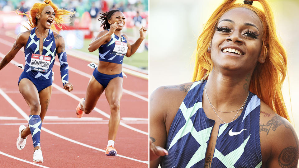 Sha'Carri Richardson, pictured here winning the 100m at the US track and field trials.