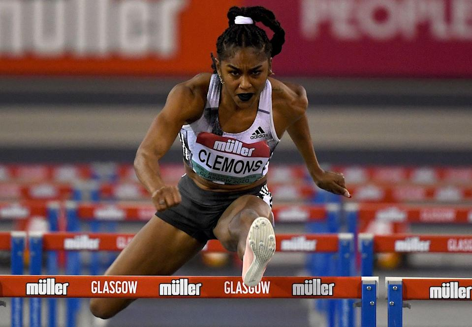<p>Wearing a long braid, a white scrunchie, and dark lipstick at the 2020 Muller Indoor Grand Prix World Athletics Tour in Scotland.</p>