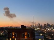 Smoke billows from the site of an explosion in the area of Second and Commerce in Nashville