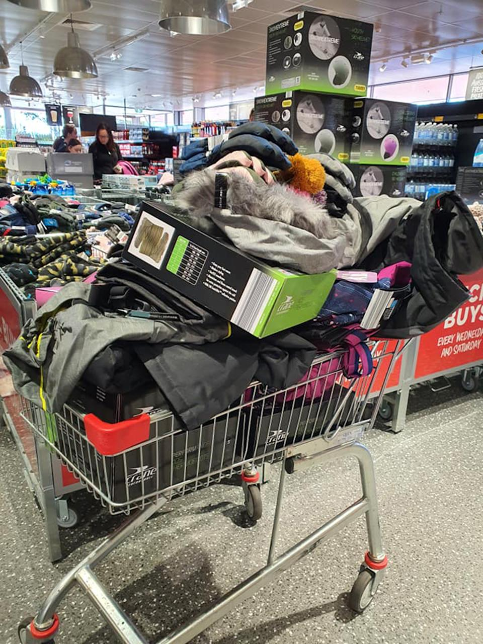 Trolley with $700 worth of snow gear from Aldi store in Melbourne.