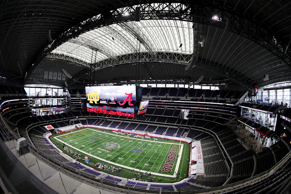 ARLINGTON, TEXAS - JANUARY 01: A general view of the field prior to the 2021 College Football Playoff Semifinal Game at the Rose Bowl Game presented by Capital One between the Alabama Crimson Tide and the the Notre Dame Fighting Irish at AT&T Stadium on January 01, 2021 in Arlington, Texas. (Photo by Carmen Mandato/Getty Images)