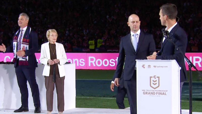 NRL CEO Todd Greenberg appears to tells James Bracey the Clive Churchill medal winner had changed. (Image: Channel Nine)