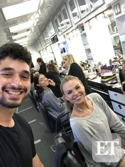 Alan Bersten and Hannah Brown getting makeup ready at DWTS