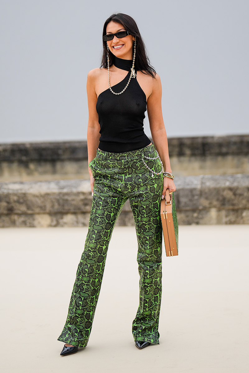 <p>Alternatively, make like Bella Hadid and swap out the t-shirt for an asymmetrical cut-out top and a handbag-turned-briefcase.</p>