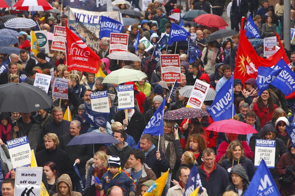 Public sector workers from multiple unions including the GMB, Unite and Unison march through central Southampton.