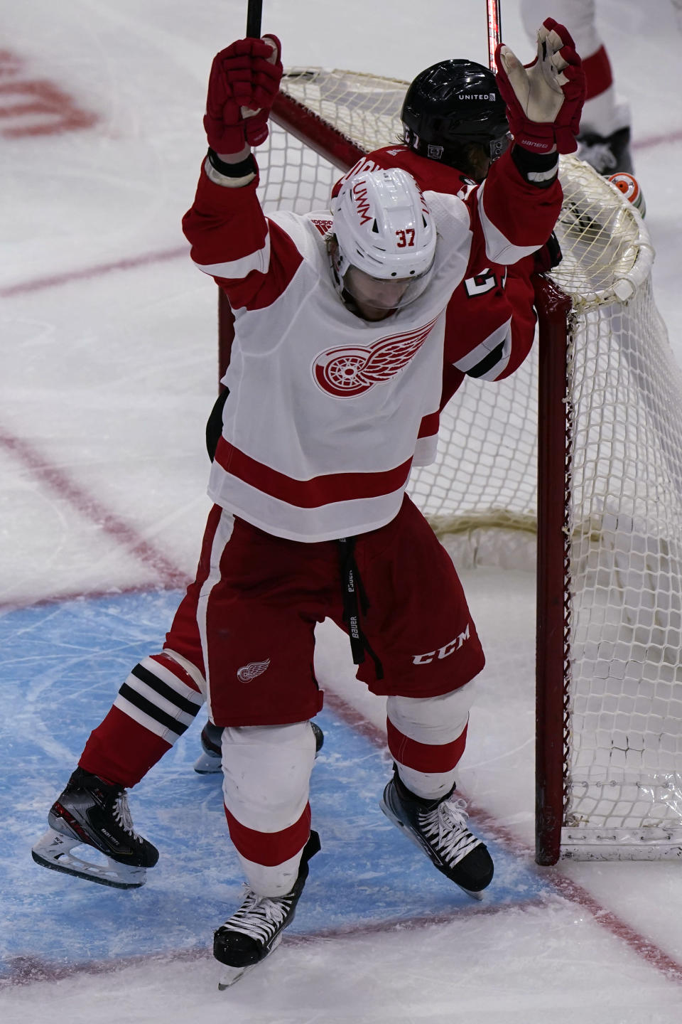 Detroit Red Wings right wing Evgeny Svechnikov celebrates after scoring a goal against the Chicago Blackhawks during the third period of an NHL hockey game in Chicago, Saturday, Feb. 27, 2021. (AP Photo/Nam Y. Huh)