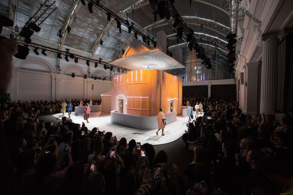 <p>Today's show was set in a light-up dolls house – inspired by Suburbia.<br /><em>[Photo: Getty]</em> </p>