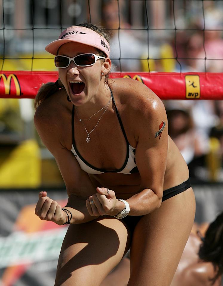 Kerri Walsh celebrates during the Women's Final match at the AVP Chicago Open on July 23, 2006 at North Avenue Beach in Chicago, Illinois.