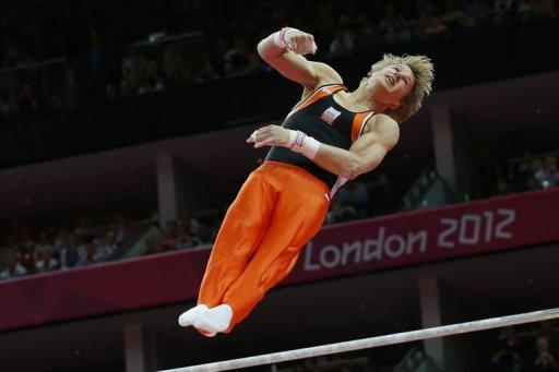 Netherlands's gymnast Epke Zonderland performs during the men's horizontal bar final of the artistic gymnastics event of the London Olympic Games at the 02 North Greenwich Arena in London. Zonderland wowed fans with a gravity-defying high bar routine on Tuesday, as the Olympic gymnastics competition closed amid a dash of controversy and a pair of golds for China