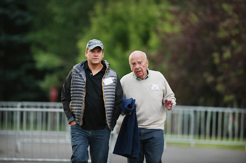 Rupert Murdoch (R), and Lachlan Murdoch, co-executive chairmen of 21st Century Fox, attend the Allen & Company Sun Valley Conference on July 11, 2015 in Sun Valley, Idaho