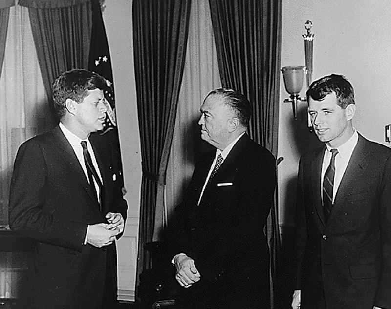 Former FBI Director J. Edgar Hoover, pictured in 1961 with then-president John F. Kennedy (left) and his attorney general Robert F. Kennedy, is believed to have been celibate his entire life
