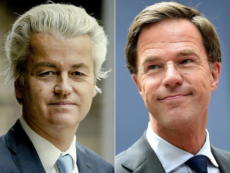 Prime Minister Mark Rutte (right) saw off the challenge from the party of anti-Islam MP Geert Wilders in the Dutch general election (AFP Photo/Robin van Lonkhuijsen, PHILIPPE HUGUEN)