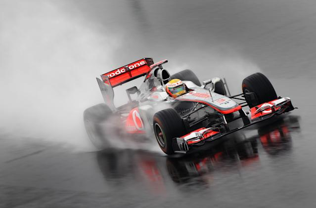 YEONGAM-GUN, SOUTH KOREA - OCTOBER 14: Lewis Hamilton of Great Britain and McLaren drives during practice for the Korean Formula One Grand Prix at the Korea International Circuit on October 14, 2011 in Yeongam-gun, South Korea. (Photo by Clive Mason/Getty Images)