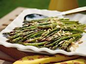 """<p>Top oven-roasted <a href=""""https://www.myrecipes.com/t/vegetables/asparagus/"""" rel=""""nofollow noopener"""" target=""""_blank"""" data-ylk=""""slk:asparagus"""" class=""""link rapid-noclick-resp"""">asparagus</a> with slivers of toasted almonds for a quick and easy side dish.</p>"""