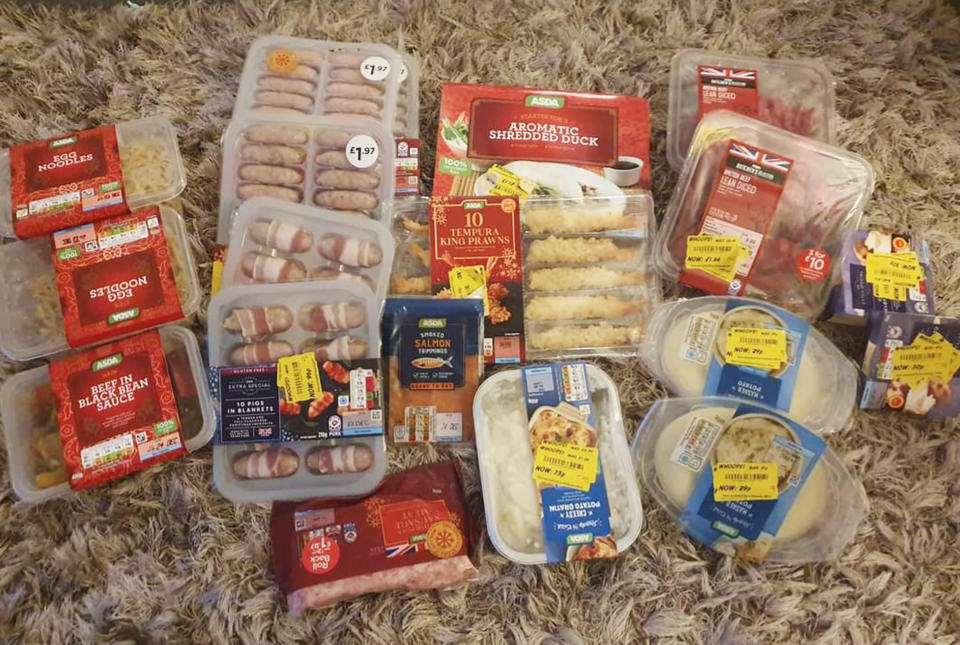 Food in the UK with yellow stickers on it