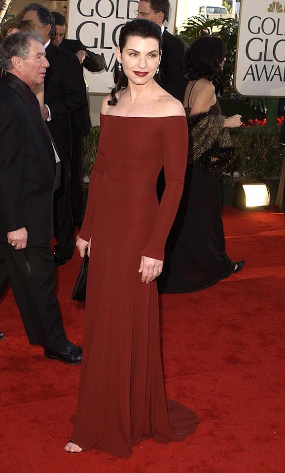 "Fashion tip: Don't match your gown with the red carpet like Julianna Margulies did in 2002. Steve Granitz/<a href=""http://www.wireimage.com"" target=""new"">WireImage.com</a> - January 20, 2002"