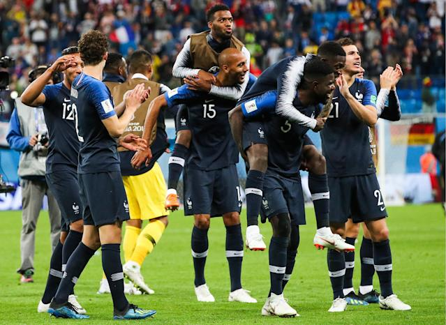 <p>France's players celebrate victory in the 2018 FIFA World Cup Semi-final match between France and Belgium at Saint Petersburg Stadium. Sergei Bobylev/TASS (Photo by Sergei Bobylev\TASS via Getty Images) </p>