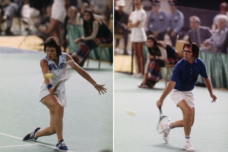 Billie Jean King plays Bobby Riggs in 1973 Battle of the Sexes tennis match. Source: Getty Images