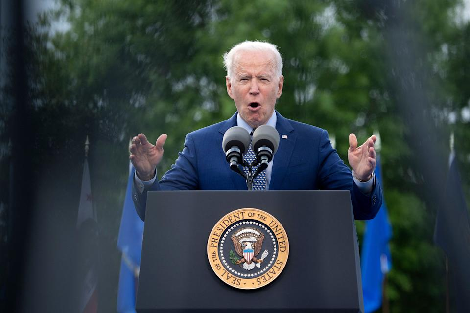 US President Joe Biden speaks during a drive-in rally at Infinite Energy Center April 29, 2021, in Duluth, Georgia. (Photo by Brendan Smialowski / AFP) (Photo by BRENDAN SMIALOWSKI/AFP via Getty Images)