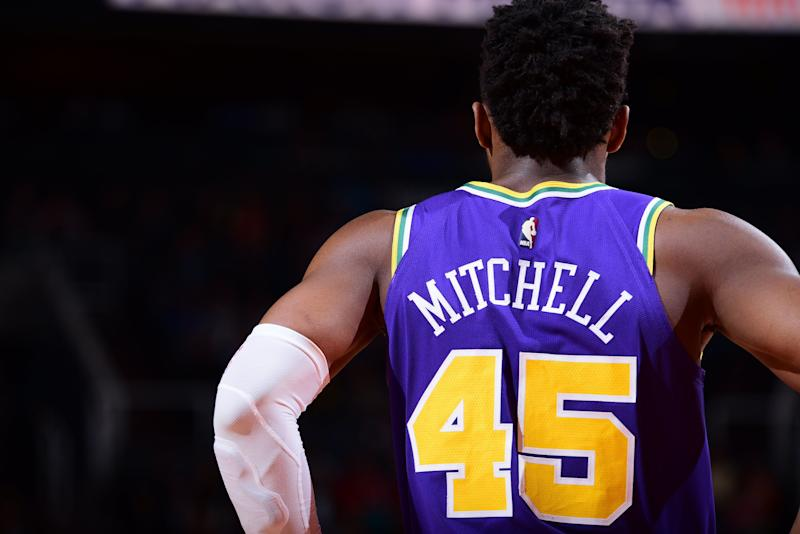 PHOENIX, AZ - MARCH 13: Donovan Mitchell #45 of the Utah Jazz seen during the game against the Phoenix Suns on March 13, 2019 at Talking Stick Resort Arena in Phoenix, Arizona. NOTE TO USER: User expressly acknowledges and agrees that, by downloading and or using this photograph, user is consenting to the terms and conditions of the Getty Images License Agreement. Mandatory Copyright Notice: Copyright 2019 NBAE (Photo by Michael Gonzales/NBAE via Getty Images)