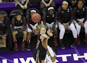 Oregon State guard Ali Gibson shoots over South Carolina guard Tiffany Mitchell (25) during the first half of a second-round game of the NCAA women's college basketball tournament, Tuesday, March 25, 2014, in Seattle. (AP Photo/The Oregonian, Randy L Rasmussen)