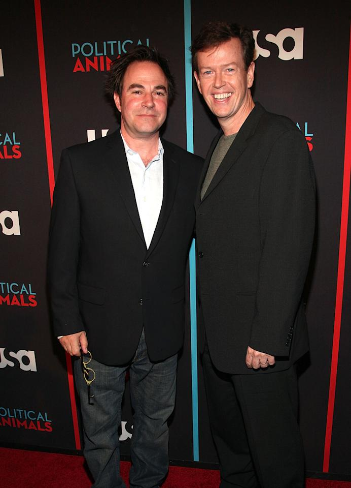 """Roger Bart and Dylan Baker attend the """"Political Animals"""" premiere at The Morgan Library & Museum on June 25, 2012 in New York City."""