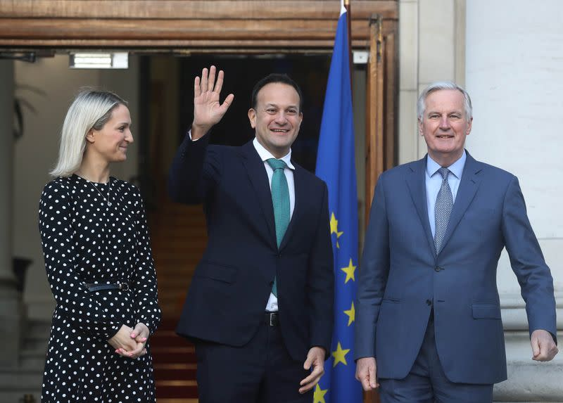 Helen McEntee, Minister of State for European Affairs and Taoiseach (Prime Minister) Leo Varadkar welcome Michel Barnier at Government Buildings in Dublin