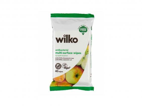 Antibacterial wipes are ideal for cleaning surfaces and tableware before you sit down to eat (Wilko)