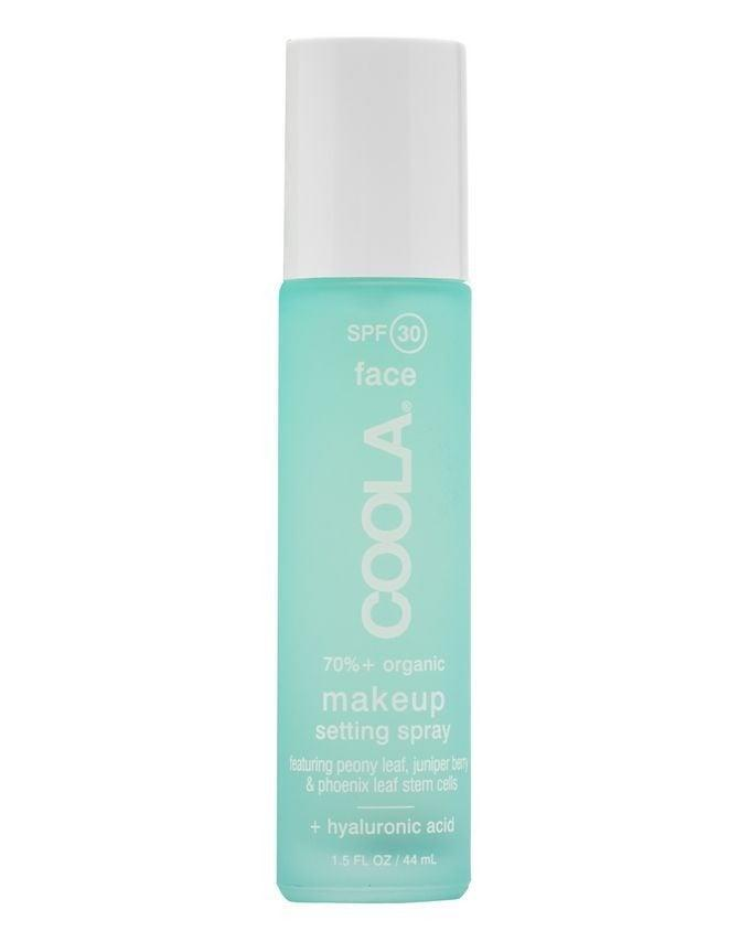 """At first spritz, this broad spectrum SPF 30 is quite wet (though refreshing!) compared to others, but it dries down to a matte finish very quickly and is non-comedogenic (less likely to clog pores). The brand claims it is water resistant for up to 80 minutes, so it's great for sweaty summer days, but it's also hydrating thanks to the addition of <a href=""""https://www.refinery29.com/en-gb/hyaluronic-acid-skin"""" rel=""""nofollow noopener"""" target=""""_blank"""" data-ylk=""""slk:hyaluronic acid"""" class=""""link rapid-noclick-resp"""">hyaluronic acid</a>. <br><br><strong>Coola</strong> Makeup Setting Spray SPF 30, $, available at <a href=""""https://www.cultbeauty.co.uk/coola-makeup-setting-spray-spf-30-green-tea-aloe.html"""" rel=""""nofollow noopener"""" target=""""_blank"""" data-ylk=""""slk:Cult Beauty"""" class=""""link rapid-noclick-resp"""">Cult Beauty</a>"""