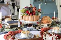 """<p>This floral pumpkin centerpiece may look ornate, but it's actually incredibly easy to make. The crafter in question simply carved a gourd and filled it with a bouquet she got from the grocery store!</p><p><strong>Get the tutorial at <a href=""""http://www.shadesofblueinteriors.com/colorful-thanksgiving-tablescape/"""" rel=""""nofollow noopener"""" target=""""_blank"""" data-ylk=""""slk:Shades of Blue Interiors"""" class=""""link rapid-noclick-resp"""">Shades of Blue Interiors</a>.</strong></p><p><strong><a class=""""link rapid-noclick-resp"""" href=""""https://www.amazon.com/Mega-Candles-Unscented-Receptions-Celebrations/dp/B00ATGA136?tag=syn-yahoo-20&ascsubtag=%5Bartid%7C10050.g.2130%5Bsrc%7Cyahoo-us"""" rel=""""nofollow noopener"""" target=""""_blank"""" data-ylk=""""slk:SHOP WHITE CANDLES"""">SHOP WHITE CANDLES</a><br></strong></p>"""