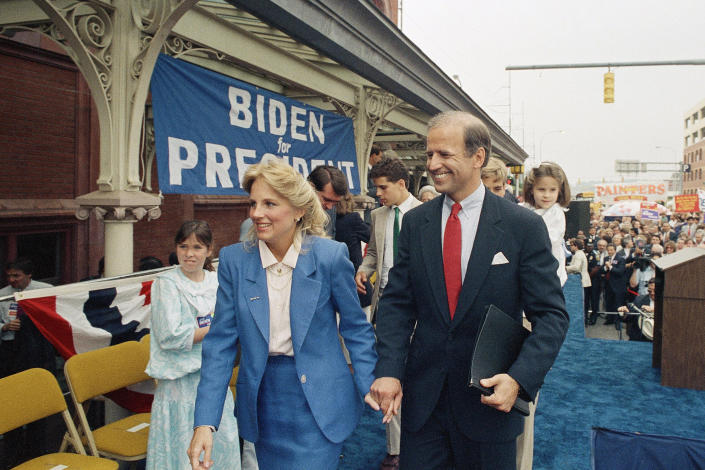 FILE - In this June 9, 1987, file photo Sen. Joe Biden, D-Del., right, walks with his wife Jill after announcing his candidacy for president in Wilmington, Del. (AP Photo/George Widman, File)