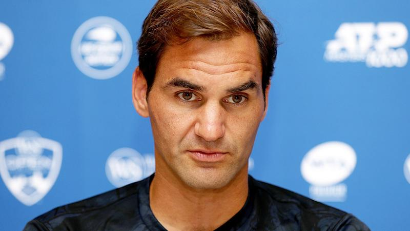 Roger Federer speaks to the media ahead of the Cincinnati Masters. (Photo by Matthew Stockman/Getty Images)
