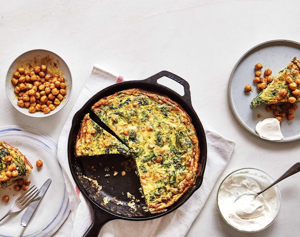 """<a href=""""https://www.bonappetit.com/recipe/spiced-chickpeas-and-greens-frittata?mbid=synd_yahoo_rss"""" rel=""""nofollow noopener"""" target=""""_blank"""" data-ylk=""""slk:See recipe."""" class=""""link rapid-noclick-resp"""">See recipe.</a>"""