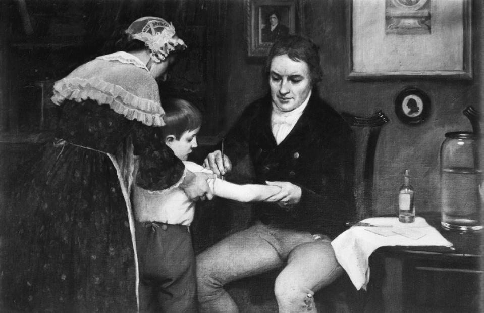 Dr. Edward Jenner performing his first vaccination on James Phipps, a boy of eight, on May 14, 1796