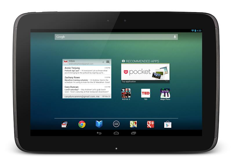 <p>               This undated image provided by Google shows Google's new 10-inch tablet, the Nexus 10.  The Nexus, which starts shipping Tuesday, Nov. 13, 2012, appeares on its face to be a good alternative to Apple's general-purpose tablet, and with a price tag that's $100 less. (AP Photo/Google)