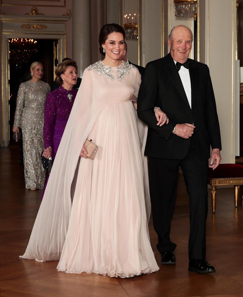 Duchess of Cambridge wearing Alexander McQueen at official dinner at the Royal Palace in Oslo in 2018 (AFP/Getty Images)