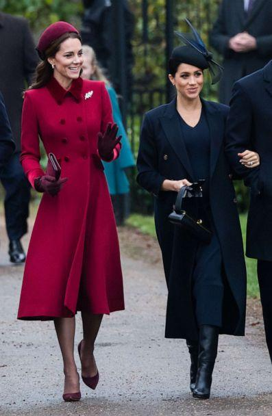 PHOTO: Catherine, Duchess of Cambridge and Meghan, Duchess of Sussex attend Christmas Day Church service at Church of St Mary Magdalene on the Sandringham estate on Dec. 25, 2018 in King's Lynn, England. (Samir Hussein/WireImage/Getty Images)