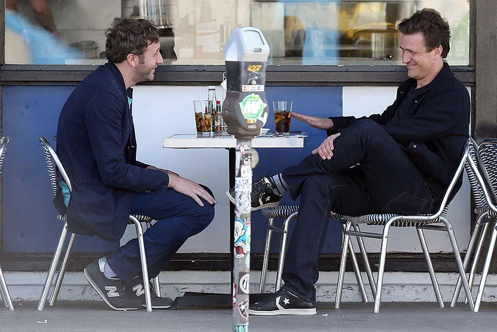 "As fas as Hollywood bromances go, this has got to be one of the cutest! ""This Is 40"" co-stars Chris O'Dowd (also known as the cop with the adorable Irish accent from ""Bridesmaids"") and ""How I Met Your Mother's"" Jason Segel grabbed some grub at Swingers diner in West Hollywood, California, on Thursday. Can we come next time? (3/21/2013)"