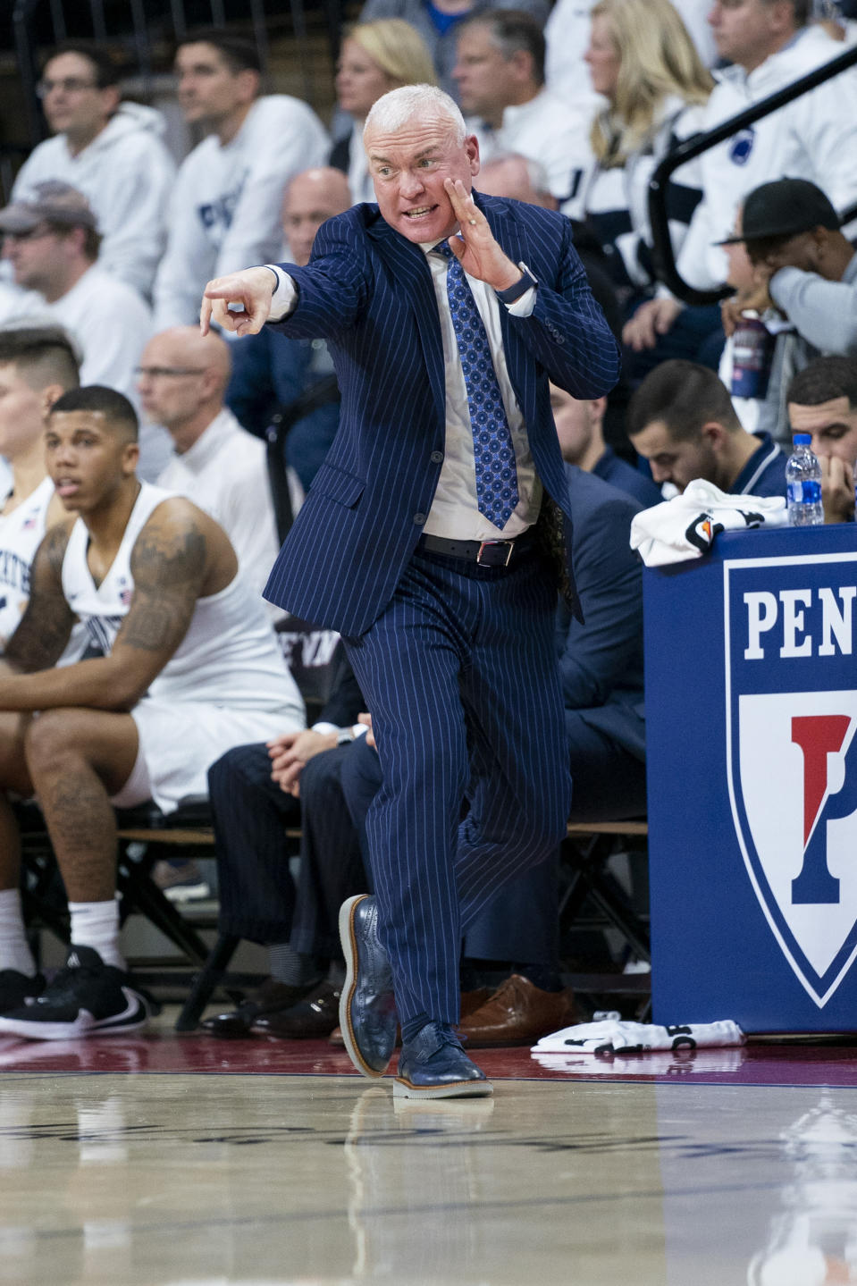 Penn State head coach Patrick Chambers directs his team during the first half of an NCAA college basketball game against Iowa Saturday, Jan. 4, 2020, in Philadelphia. (AP Photo/Chris Szagola)